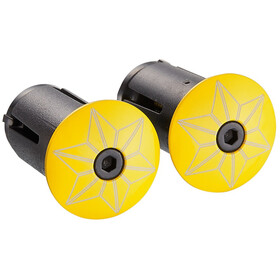 Supacaz Star Plugz Handlebar End Caps yellow powder-coated